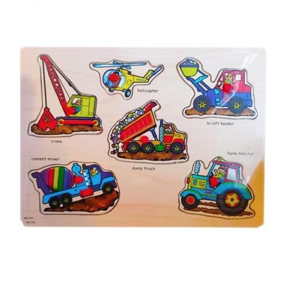 Puzzle cu pini- Masini de constructie