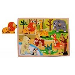 Puzzle din lemn color cu mâner Zoo