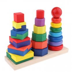Turn de stivuire si sortatre forme Montessori din lemn
