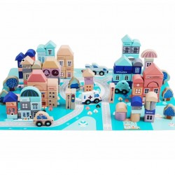 Set 115 cuburi din lemn - Orasul Copiilor!