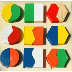 Puzzle 9 forme 3D lemn forme geometrice