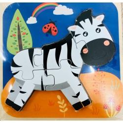 Puzzle 3D Din Lemn Zebra 5 Piese