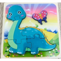 Puzzle 3D Din Lemn Dino 5 Piese