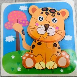 Puzzle 3D Din Lemn Tigru 7 piese