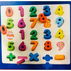 Puzzle educativ din lemn cifre matematice