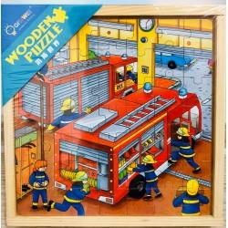 Trei Puzzle Din Lemn In Cutie De Lemn 3 In 1 Pompierii Salvatori