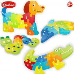 Puzzle din lemn numere Crocodil Onshine