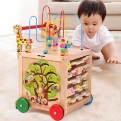 Antemergator Montessori 6 in 1 din lemn model mare