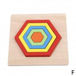HEXAGON - Puzzle 3D lemn Curcubeu Montessori forme si marimi