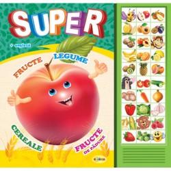 Carte cu sunete - Super fructe, legume in romana si engleza