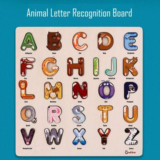 Puzzle din lemn- Alfabetul cu animale Onshine