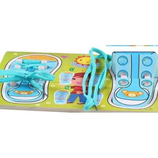 Pantofi cu siret puzzle - Albastru