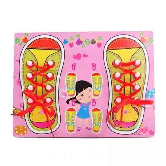 Pantofi cu siret puzzle - Roz