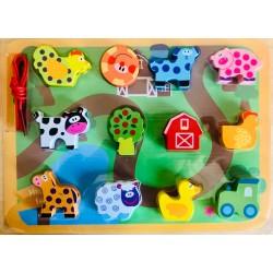 Joc de insiruit, snuruit cu piese din lemn 3D Ferma animalelor