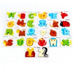 Alfabet Cartonase cu Litere din lemn si Animale