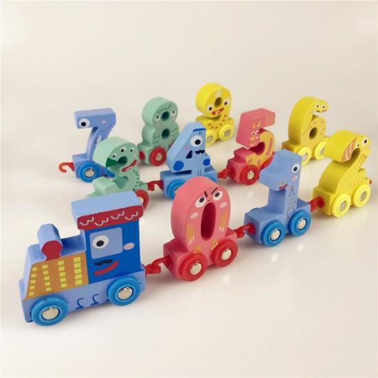 Trenulet din lemn cu cifre colorate