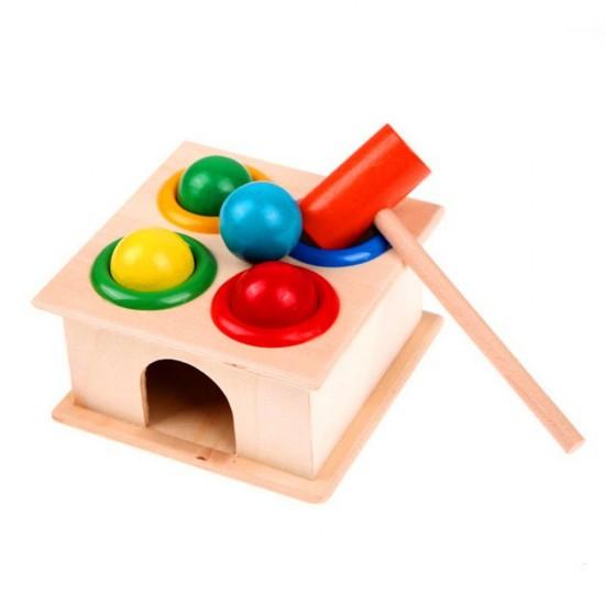 Cutia permanentei Montessori, cutie din lemn cu bile si ciocan
