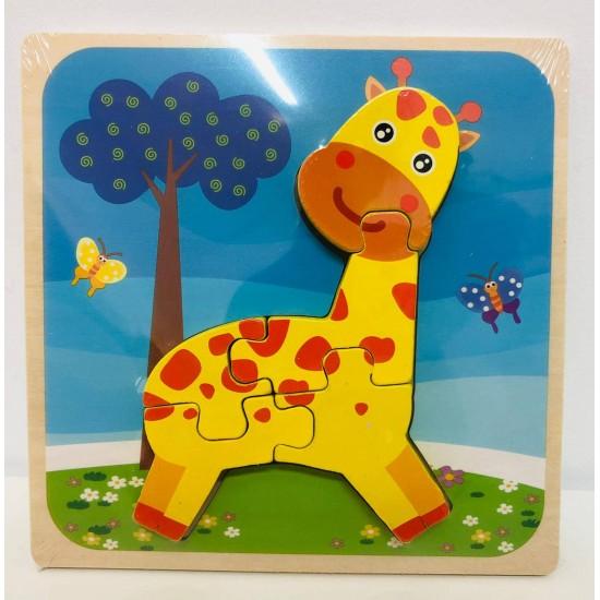 Puzzle 3D Din Lemn Girafa