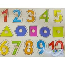 Puzzle din lemn cu pin- cifre 1-10