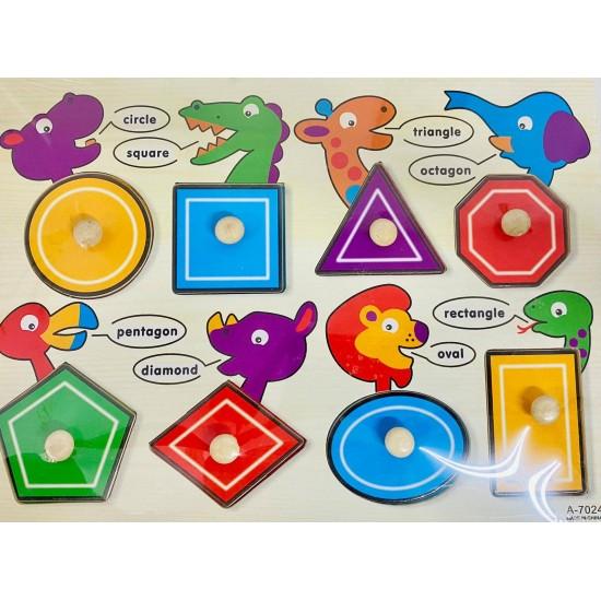 Puzzle din lemn cu pin- forme geometrice