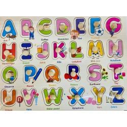 Puzzle din lemn cu pin- litere in engleza