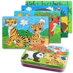 Set 4 puzzle Animale in cutie metalica