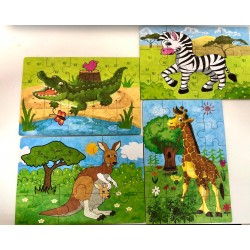 Set 4 puzzle Animale Safari in cutie metalica