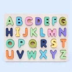 Puzzle 3D din lemn Alfabet Pastel