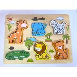 Puzzle 3D din lemn format din 2-3 piese Animalutele