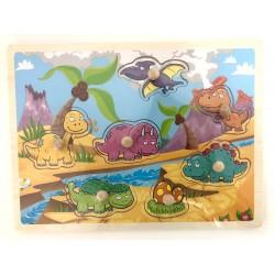Puzzle cu pini din lemn Dinozauri