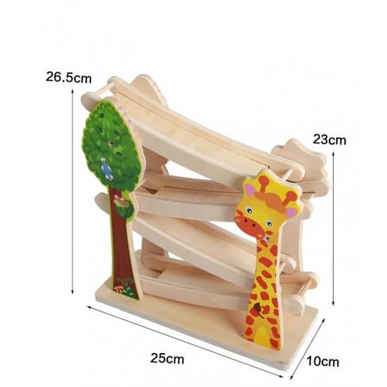 Pista de raliu din lemn cu animale