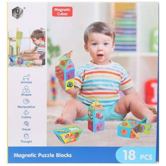 Joc de constructii Magnetic Cubes 18 piese