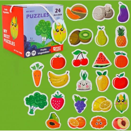 Set 24 puzzle din 2 piese Fructe si legume