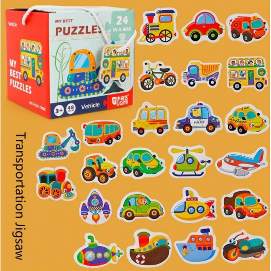 Set 24 puzzle din 2 piese Vehicule