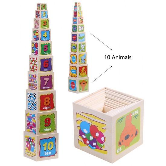Turn Montessori Din Lemn 10 Cuburi
