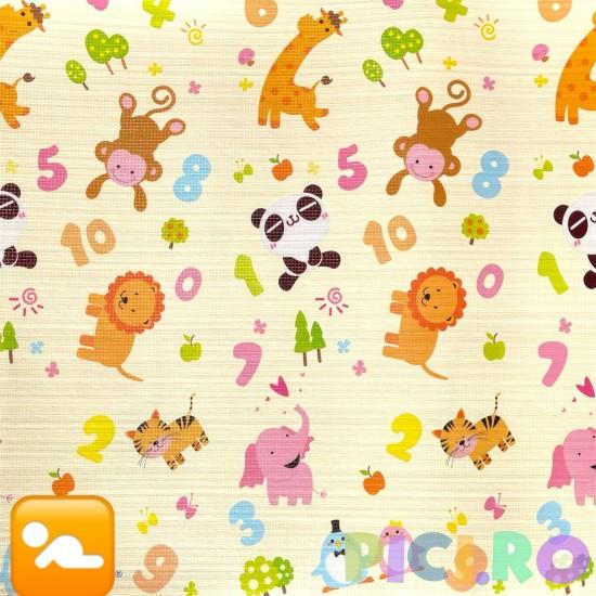 Covor de joaca bebe din spuma cu doua fete 180 x 200 cm Ursuletii si cifrele