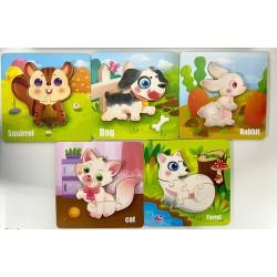 Set 5 puzzle incastru 3D Animale cu Imagini pe ambele parti ale piesei