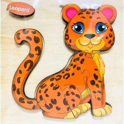 Puzzle 3D din lemn Leopard