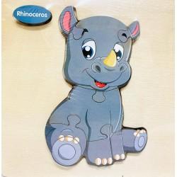Puzzle 3D din lemn Rhinoceros
