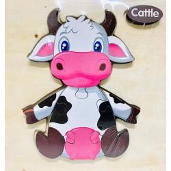 Puzzle 3D din lemn Cattle