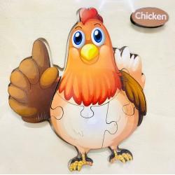 Puzzle 3D din lemn Chicken