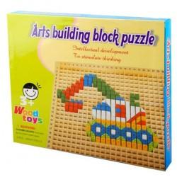Joc creativ Pixel din lemn Arts building