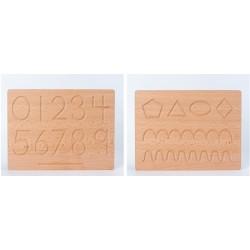 Tablă din lemn Montessori Reversibila Cifre si Forme