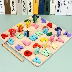 Puzzle educativ Alfabet colorat cu pestisori de pescuit