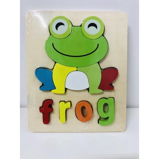 Puzzle Din Lemn Cuvinte In Limba Engleza - Frog (Broasca)