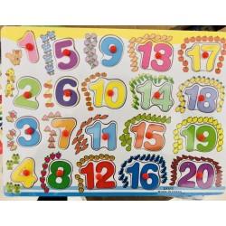 Puzzle cifre cu pini 1-20
