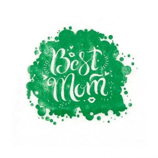 """Body Alb cu maneca lunga, """"Best mom"""""""
