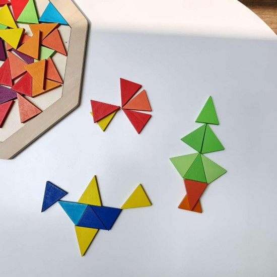 Joc din lemn Tangram color
