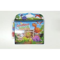 Carte reutilzabila de colorat cu apa - Dinozauri