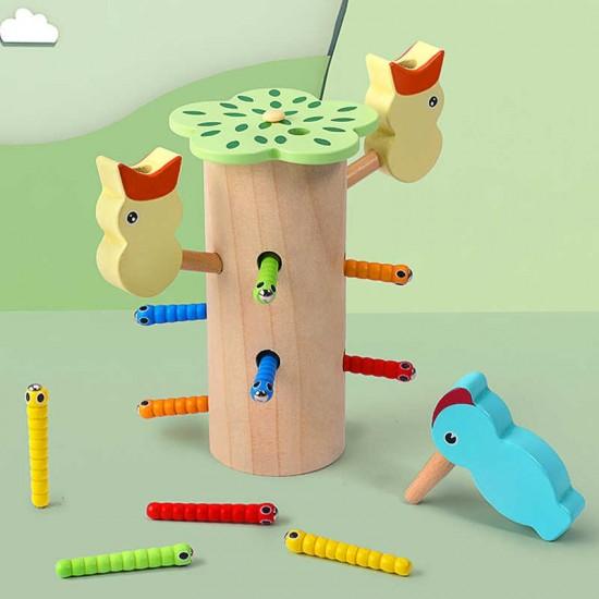 Joc de prindere din lemn Ciocanitoarea si puii